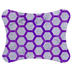 Hexagon2 White Marble & Purple Watercolor (r) Jigsaw Puzzle Photo Stand (bow) by trendistuff