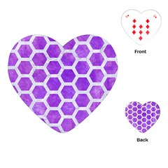 Hexagon2 White Marble & Purple Watercolor Playing Cards (heart)  by trendistuff