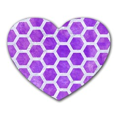 Hexagon2 White Marble & Purple Watercolor Heart Mousepads