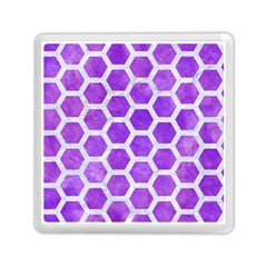 Hexagon2 White Marble & Purple Watercolor Memory Card Reader (square)  by trendistuff