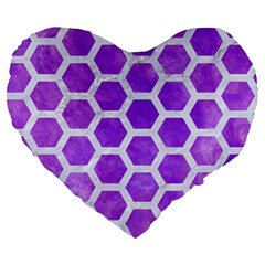 Hexagon2 White Marble & Purple Watercolor Large 19  Premium Flano Heart Shape Cushions by trendistuff