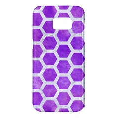 Hexagon2 White Marble & Purple Watercolor Samsung Galaxy S7 Edge Hardshell Case by trendistuff