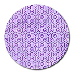 Hexagon1 White Marble & Purple Watercolor (r) Round Mousepads by trendistuff
