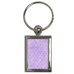 Hexagon1 White Marble & Purple Watercolor (r) Key Chains (rectangle)  by trendistuff