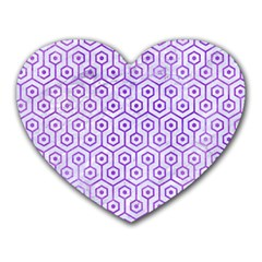 Hexagon1 White Marble & Purple Watercolor (r) Heart Mousepads by trendistuff
