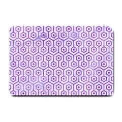 Hexagon1 White Marble & Purple Watercolor (r) Small Doormat  by trendistuff