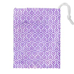 Hexagon1 White Marble & Purple Watercolor (r) Drawstring Pouches (xxl) by trendistuff