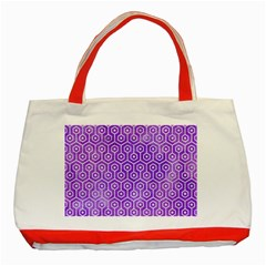 Hexagon1 White Marble & Purple Watercolor Classic Tote Bag (red) by trendistuff