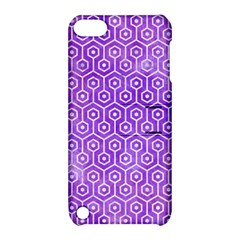 Hexagon1 White Marble & Purple Watercolor Apple Ipod Touch 5 Hardshell Case With Stand by trendistuff