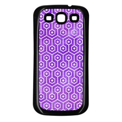 Hexagon1 White Marble & Purple Watercolor Samsung Galaxy S3 Back Case (black) by trendistuff