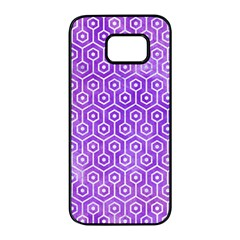 Hexagon1 White Marble & Purple Watercolor Samsung Galaxy S7 Edge Black Seamless Case by trendistuff