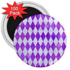 Diamond1 White Marble & Purple Watercolor 3  Magnets (100 Pack) by trendistuff