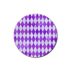 Diamond1 White Marble & Purple Watercolor Rubber Round Coaster (4 Pack)  by trendistuff