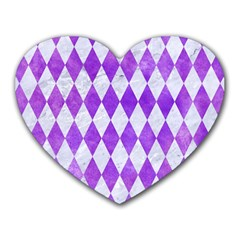 Diamond1 White Marble & Purple Watercolor Heart Mousepads by trendistuff