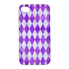 Diamond1 White Marble & Purple Watercolor Apple Iphone 4/4s Hardshell Case With Stand by trendistuff