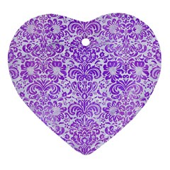 Damask2 White Marble & Purple Watercolor (r) Heart Ornament (two Sides) by trendistuff