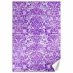 Damask2 White Marble & Purple Watercolor (r) Canvas 12  X 18   by trendistuff