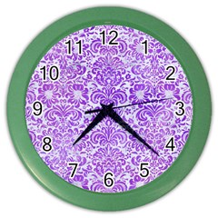 Damask2 White Marble & Purple Watercolor (r) Color Wall Clocks by trendistuff