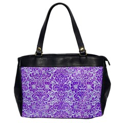 Damask2 White Marble & Purple Watercolor (r) Office Handbags by trendistuff