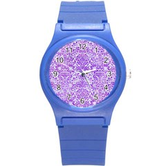 Damask2 White Marble & Purple Watercolor (r) Round Plastic Sport Watch (s) by trendistuff