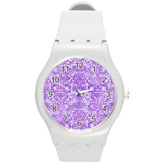 Damask2 White Marble & Purple Watercolor (r) Round Plastic Sport Watch (m) by trendistuff