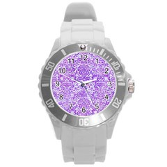 Damask2 White Marble & Purple Watercolor (r) Round Plastic Sport Watch (l) by trendistuff