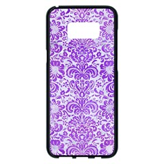 Damask2 White Marble & Purple Watercolor (r) Samsung Galaxy S8 Plus Black Seamless Case
