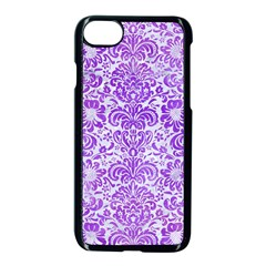 Damask2 White Marble & Purple Watercolor (r) Apple Iphone 8 Seamless Case (black) by trendistuff