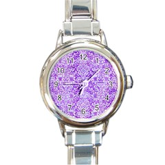 Damask2 White Marble & Purple Watercolor Round Italian Charm Watch by trendistuff