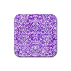 Damask2 White Marble & Purple Watercolor Rubber Coaster (square)
