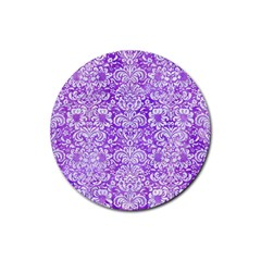 Damask2 White Marble & Purple Watercolor Rubber Round Coaster (4 Pack)  by trendistuff