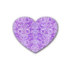 Damask2 White Marble & Purple Watercolor Heart Coaster (4 Pack)  by trendistuff