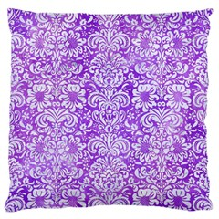 Damask2 White Marble & Purple Watercolor Large Flano Cushion Case (one Side) by trendistuff
