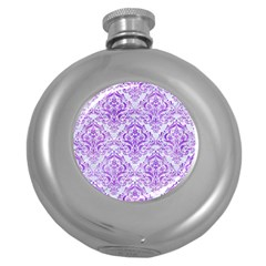 Damask1 White Marble & Purple Watercolor (r) Round Hip Flask (5 Oz) by trendistuff