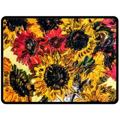 Sunflowers In A Scott House Double Sided Fleece Blanket (large)