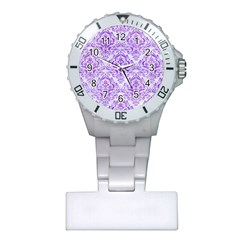 Damask1 White Marble & Purple Watercolor (r) Plastic Nurses Watch