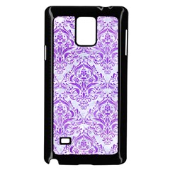 Damask1 White Marble & Purple Watercolor (r) Samsung Galaxy Note 4 Case (black)