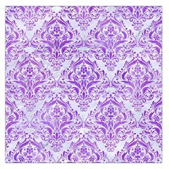 Damask1 White Marble & Purple Watercolor (r) Large Satin Scarf (square) by trendistuff