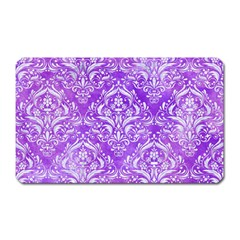 Damask1 White Marble & Purple Watercolor Magnet (rectangular) by trendistuff