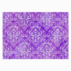 Damask1 White Marble & Purple Watercolor Large Glasses Cloth by trendistuff