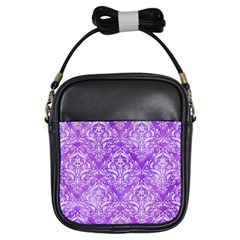 Damask1 White Marble & Purple Watercolor Girls Sling Bags by trendistuff