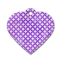 Circles3 White Marble & Purple Watercolor (r) Dog Tag Heart (one Side) by trendistuff