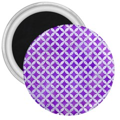Circles3 White Marble & Purple Watercolor 3  Magnets by trendistuff