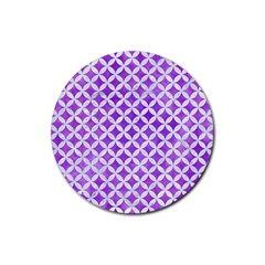 Circles3 White Marble & Purple Watercolor Rubber Coaster (round)  by trendistuff