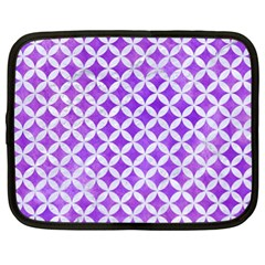 Circles3 White Marble & Purple Watercolor Netbook Case (xl)  by trendistuff