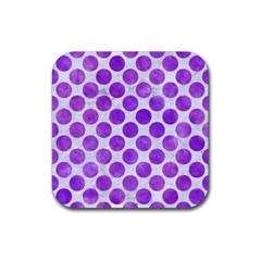 Circles2 White Marble & Purple Watercolor (r) Rubber Square Coaster (4 Pack)  by trendistuff