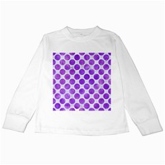 Circles2 White Marble & Purple Watercolor (r) Kids Long Sleeve T Shirts