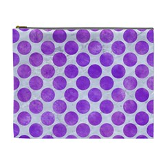 Circles2 White Marble & Purple Watercolor (r) Cosmetic Bag (xl) by trendistuff