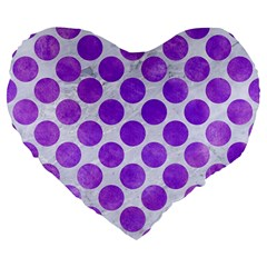Circles2 White Marble & Purple Watercolor (r) Large 19  Premium Flano Heart Shape Cushions by trendistuff