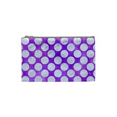 Circles2 White Marble & Purple Watercolor Cosmetic Bag (small)